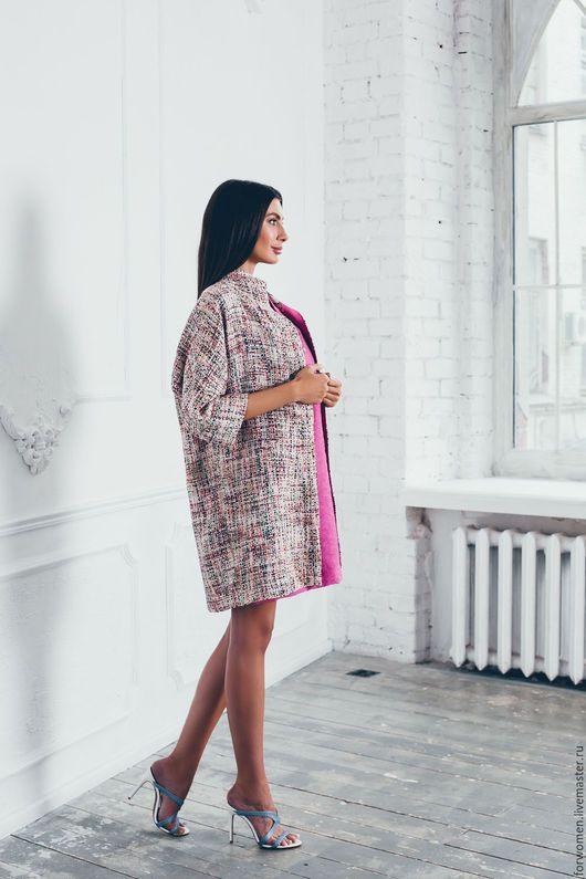 Верхняя одежда ручной работы. Ярмарка Мастеров - ручная работа. Купить Пальто удлиненное, розовая полоска. Handmade. Розовый
