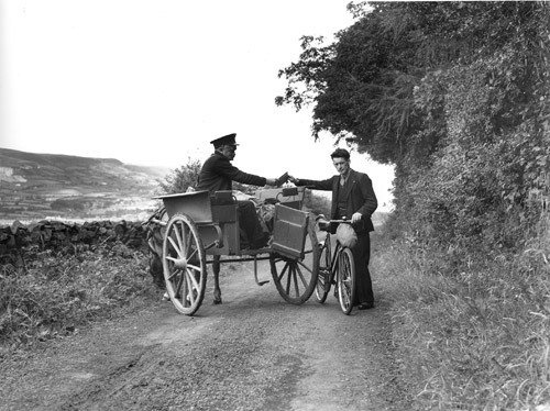 Postman with pony and trap in Northern Ireland, 1938.