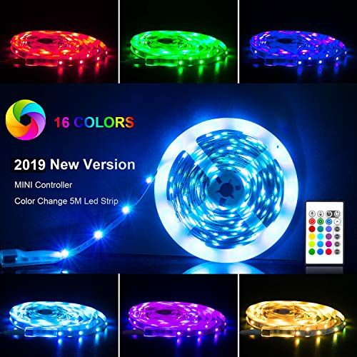 RGB 5050 LEDs Color Changing Kit with 24key Remote and LED Strip Lights 16.4ft