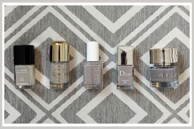 Cinzas discretos: Frenzy – Chanel, Charlotte – Granado,  Miss Fancy Pants – Essie, Trianon – Dior, Stockholm Syndrome – Smith & Cult. Dia de Beauté