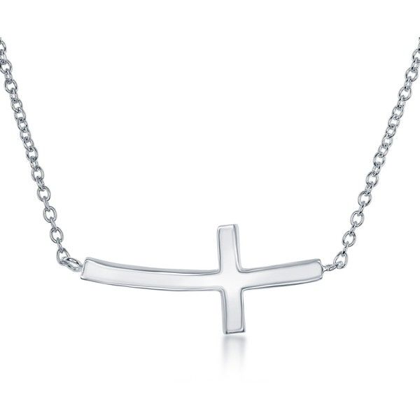 La Preciosa Sterling Silver Curved Sideways Cross Necklace ($21) ❤ liked on Polyvore featuring jewelry, necklaces, silver, sterling silver rose necklace, side cross necklace, yellow necklace, sideways cross jewelry and sideways cross necklace