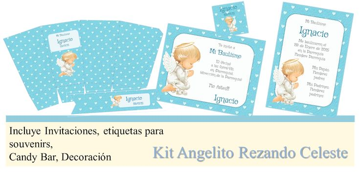 Kit Imprimible Bautismo Angelito Rezando Estanmpita Candybar - $ 30,00