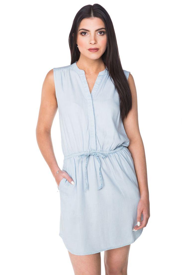 Sleeveless Half-Plaquet Dress with Drawstring Waist
