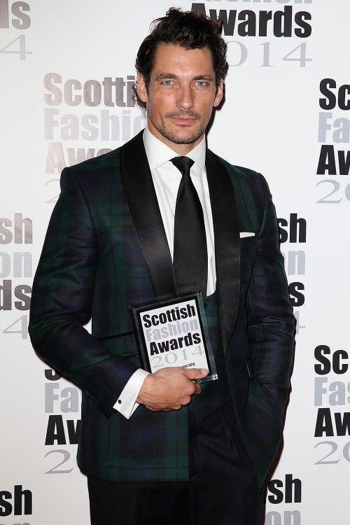 David Gandy wearing Marks and Spencer trartan suit at the Scottish Fashion Awards 2014 winners | Harper's Bazaar