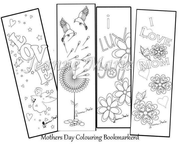 Mothers Day Colouring, Colouring Bookmark, Gift for Mom, I love you, Digi Stamp, Printable Download, Bookmark for Mom, Love Digi Stamp, Mom by JeanneMarieCreative on Etsy