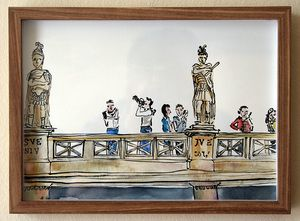 'Roman Bathers, Bath'   Ink Drawing & Watercolour 290 x 210 m  m R 2 200