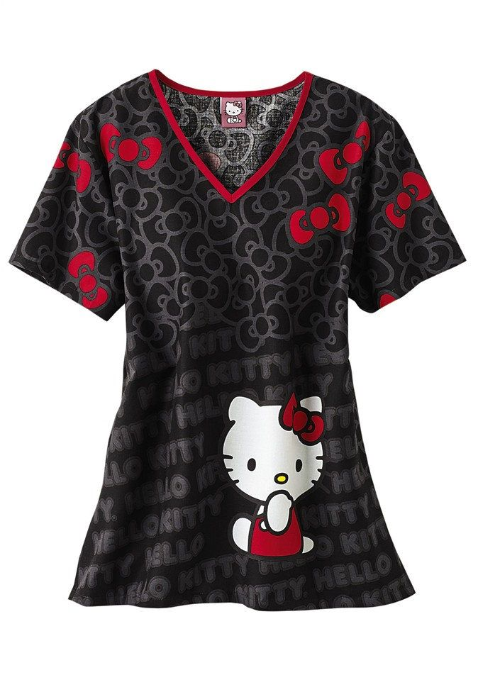 Cherokee Tooniforms Hello Kitty Cute print scrub top.