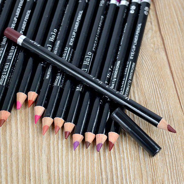 2017 baru hot profesional pensil lipliner tahan air lip liner pen 19 warna xmas