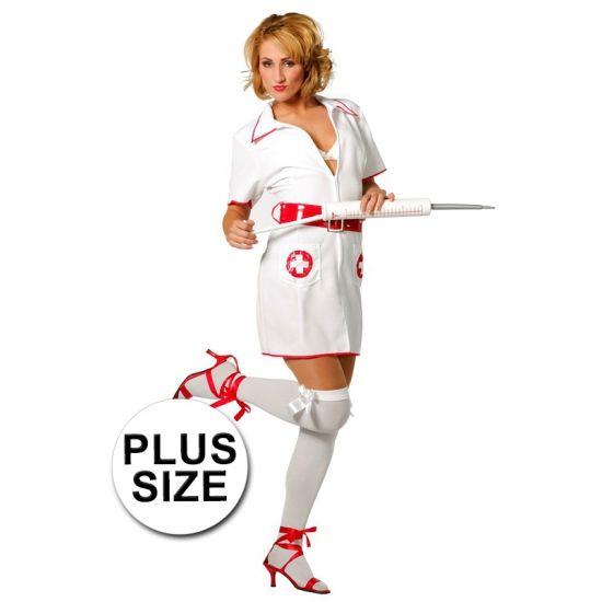 Grote maten verpleegster kostuum. Verpleegster kostuum inclusief rode riem. De verpleegster accessoires kunt u los bestellen.