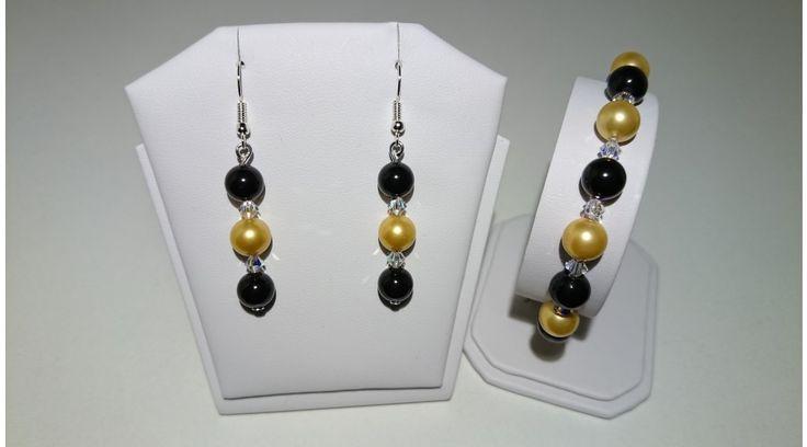 Fekete-Arany Shell Pearl gyöngy szett swarovski kristállyal - Szettek - FMGyöngy - Utazás a gyöngyök világába
