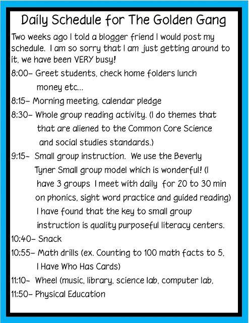 Golden Gang Kindergarten: Daily Schedule