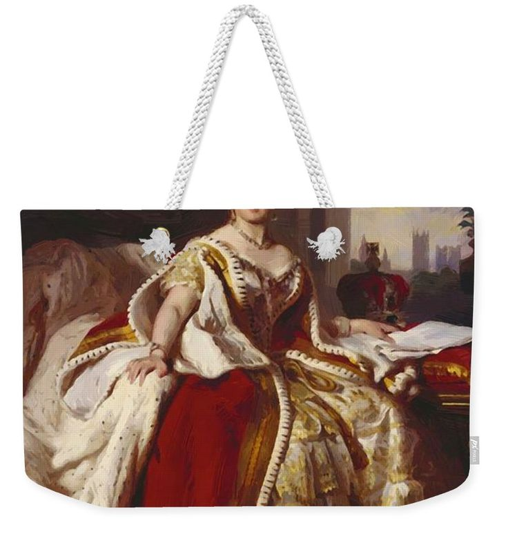 Queen Weekender Tote Bag featuring the painting Queen Victoria 1859 by Winterhalter Franz Xaver