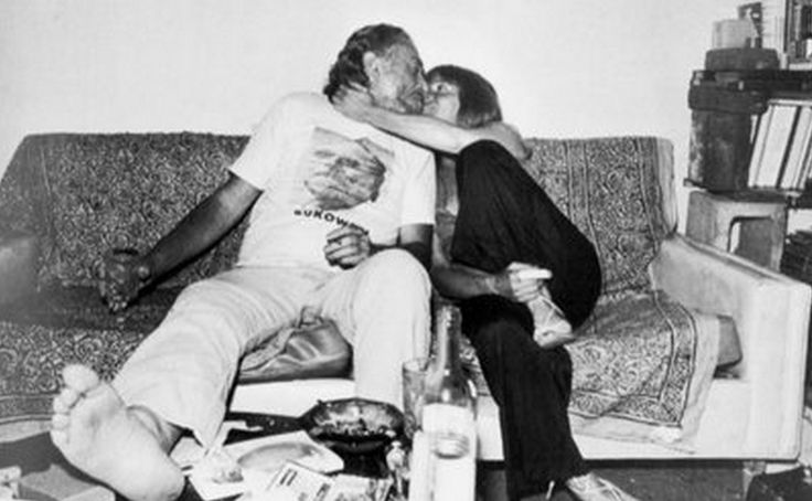 Bukowski wearing a t-shirt with his face.