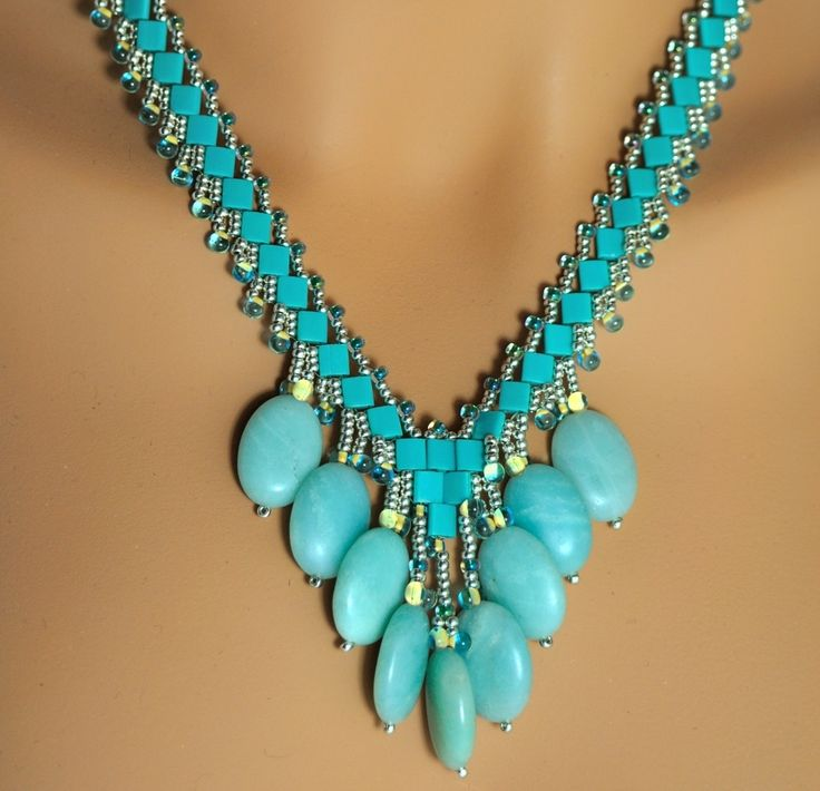 Amazonite Drops with tila beads necklace-- St. Petersburg stitch. Nice gun free