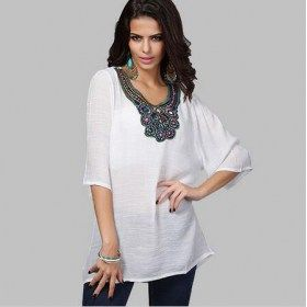 Vintage Bohemian Embroidery Short Sleeves T-shirt Plus Size Tunic