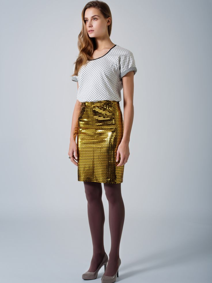 Organic cotton T top / Double face / dots & stripes / Unique gold straight pencil skirt