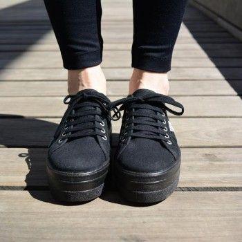 C贸moda Con Plataforma Zapatillas Combinar Negras Como siempre stQrhd