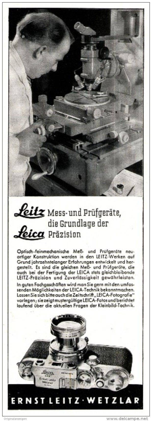 Original-Werbung/ Anzeige 1952 - LEICA KAMERA - LEITZ - WETZLAR - ca. 75 x 200 mm
