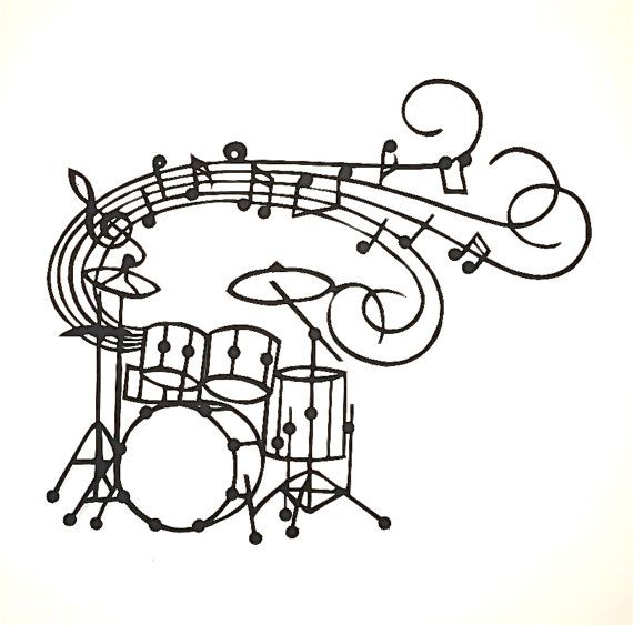 DRUMS Music Notes & Plato's Quote Black Silhouette Paper