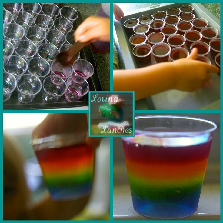 My Little Pony Party rainbow jelly shot  More MLP:FIM party food and ideas on this blog post. Rainbow Dash
