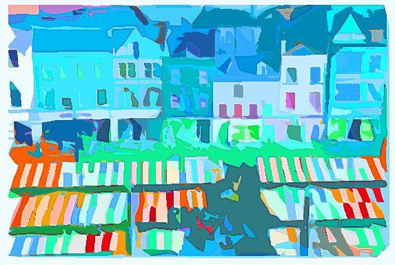 market square in blue