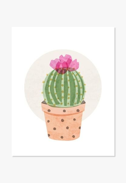 Original watercolor illustration of a ball cactus in bloom. For nurseries, bedrooms, family rooms and workspaces. A nice housewarming gift. One in a series of Cute Cacti Also available printed on canv