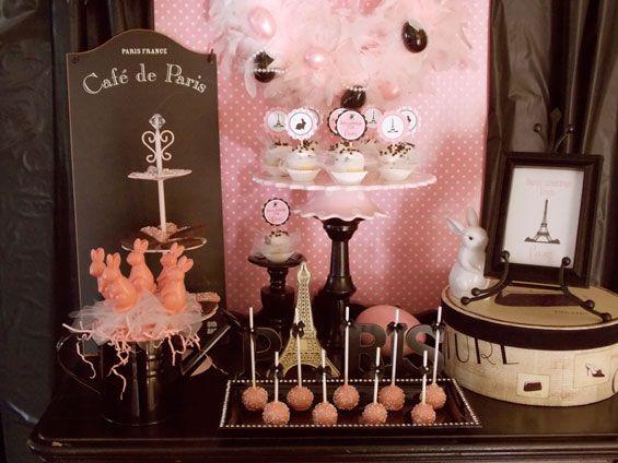 A Cute Pink And Black Parisian Dessert Table Cute For A