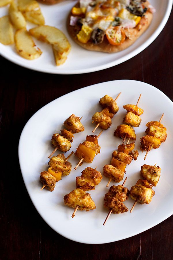 this is a quick recipe to make paneer tikka at home for diwali festival. in this recipe, there is no time used up for marination. this quick snack of paneer tikka can be good starter or a cocktail snack