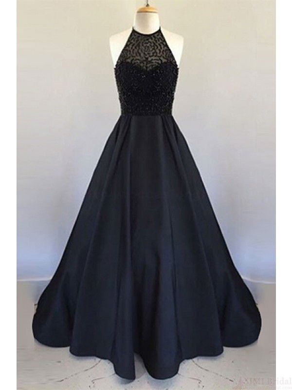 Halter Black  Beading Bodice  Long Prom Dresses Ball Gown Evening  Dresses  #SIMIBridal #promdresses