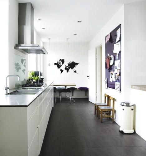 Modern Kitchen Dark Tile Floor, White Cabinets, Ferm