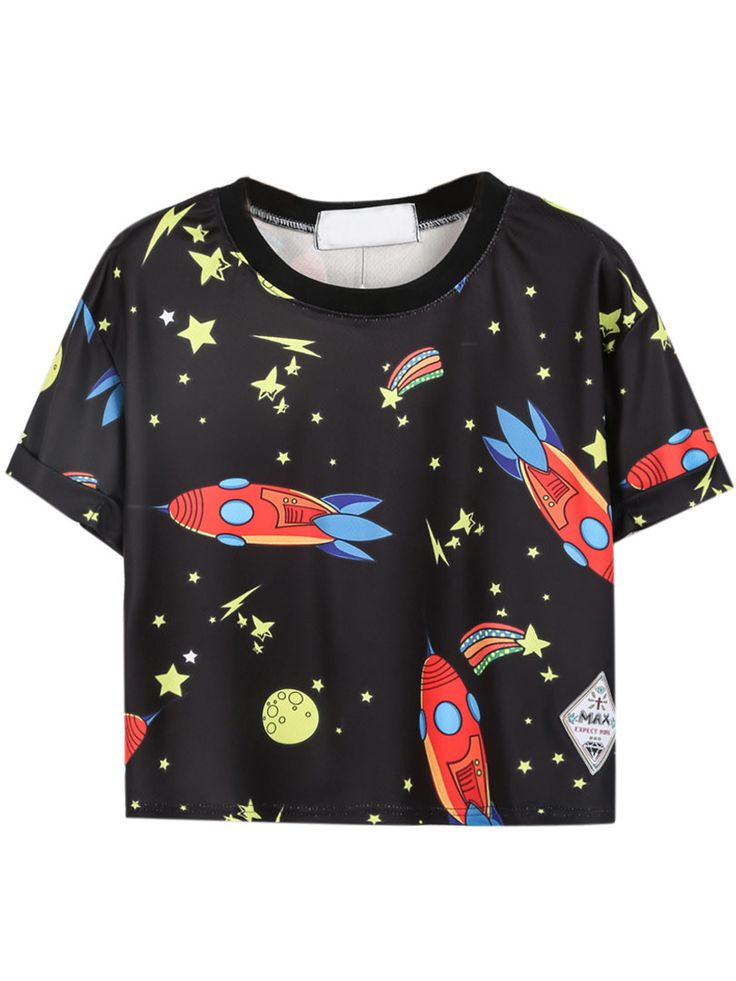 Black Cartoon Rocket Stars Print Crop T-Shirt | Choies