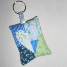 Porte-clés tissu coeur bleu