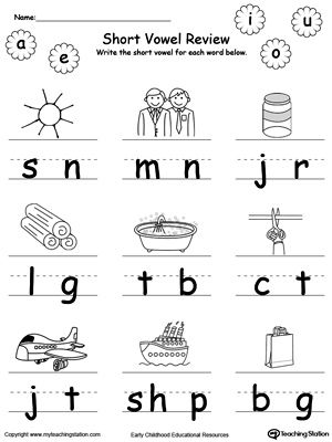 **FREE** Short Vowel Review. Write Missing Vowel Part III. Worksheet. Identify and write the missing short vowel part III in this printable worksheet. Your child will look at the picture, pronounce its name and identify the missing vowel in the word, then write it. #MyTeachingStation