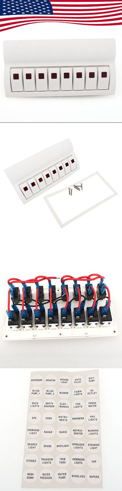 boat parts: New Red Led White 8 Gang Rocker Switch Panel For Marine/Boat Waterproof Caravan BUY IT NOW ONLY: $37.99