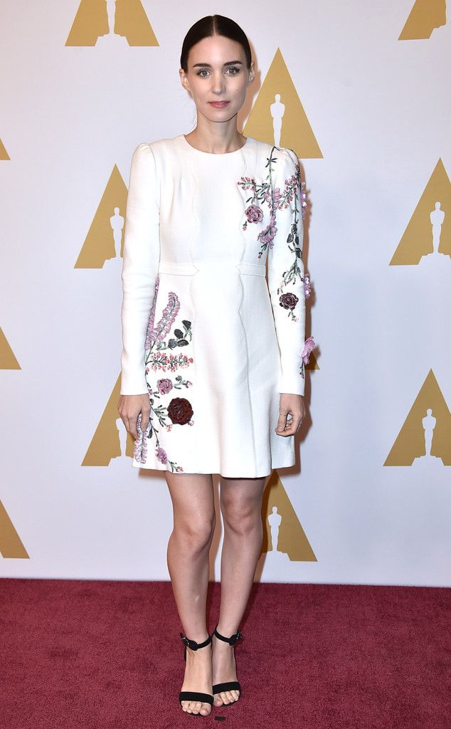 Rooney Mara from Oscars 2016: Nominees' Luncheon  The actress stays true to her modernstyle in a white, floral shirt.