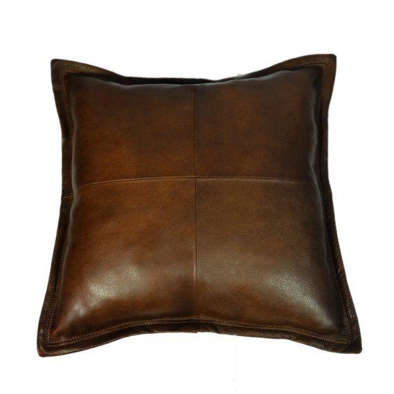 dark brown genuine leather cushion