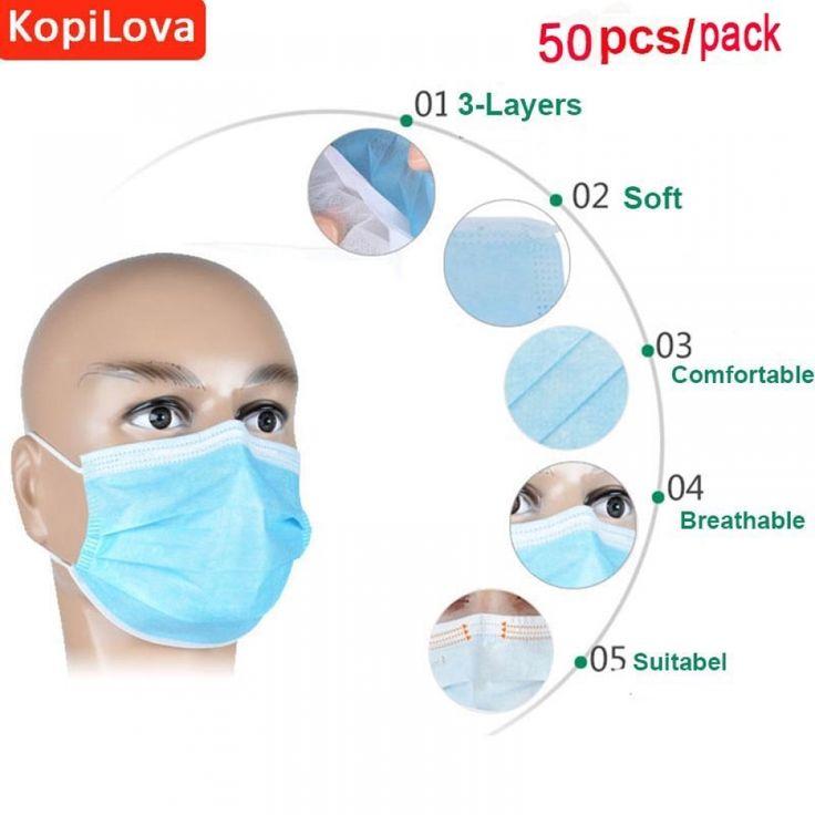 KopiLova 50pcs Blue Surgical Disposable Face Mask Ear Loop