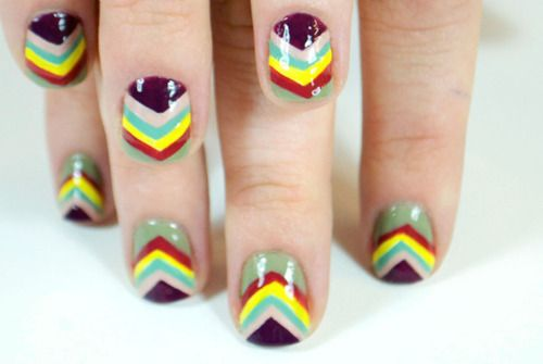 Love this but my hands would never keep steady long enough to do it free hand and I'm too impatient to re-create it with tape. Looks amazing though.  beautylish:    Inspired by the Target and Missoni collaboration, we were inspired to create this Missoni inspired chevron manicure. Check out the tutorial to get the look!