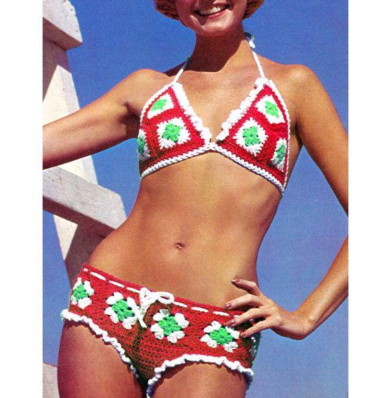 Vintage Crochet Pattern 1970s Hip Hugger Bikini by 2ndlookvintage