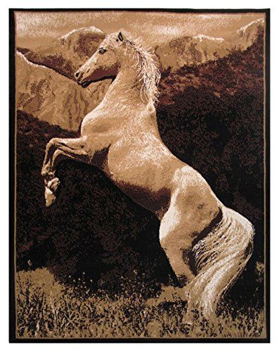 Rugs 4 Less Collection Western Horse Area Rug R4L 12 002 (5u0027X7u0027)