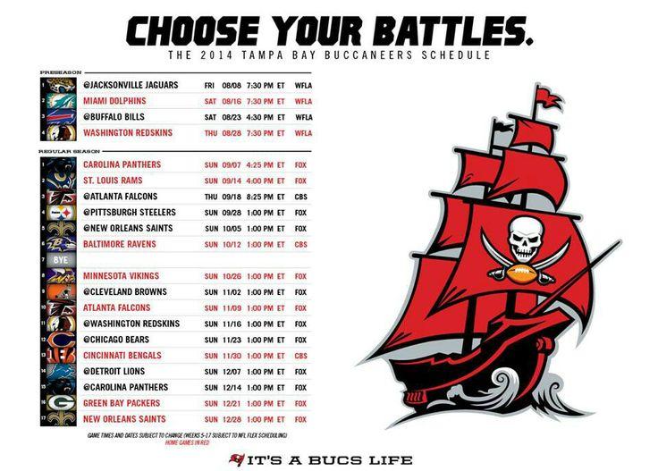 Tampa Bay Bucs' schedule