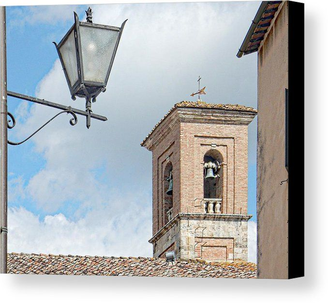 Bell Tower Canvas Print featuring the photograph Bell Tower And Street Light In Cetona Tuscany by Dorothy Berry-Lound #campanile #Cetona #Tuscany