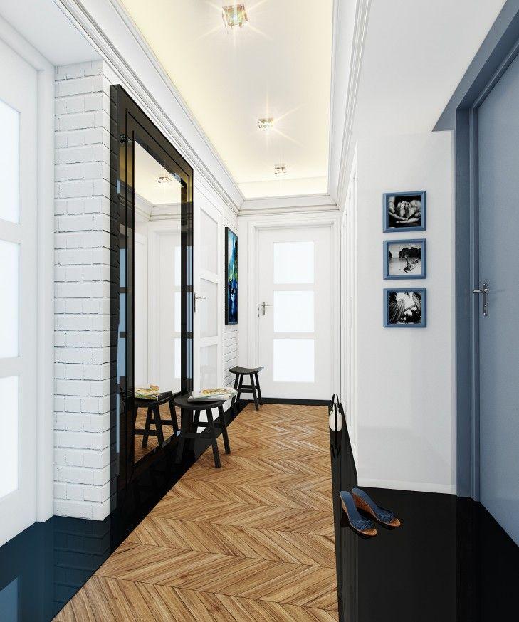 Przedpokój został zaprojektowany w wielu stylach, z użyciem różnych materiałów. Mimo to całość bardzo spójna - Tissu http://www.tissu.com.pl/zdjecia/601