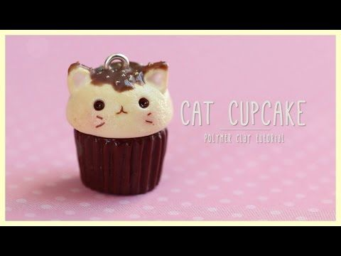 Kawaii Kitty Cat Cupcake polymer clay charm tutorial