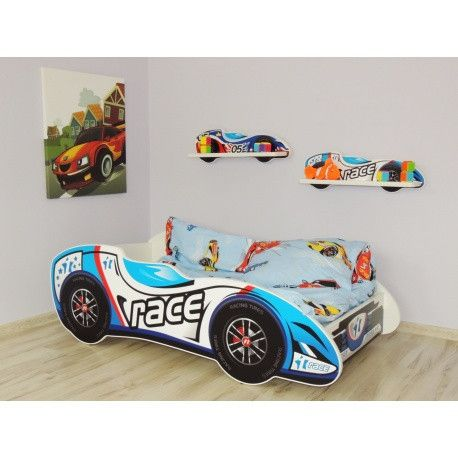 F1 Racecar bed for toddlers - gorgeous sky blue and white design - The Little Bedroom Company