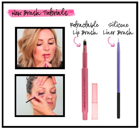 The retractable lip brush, is a mess-free way to touch-up-on the go and the silicone liner brush is a high-tech way to apply gel or liquid liner.