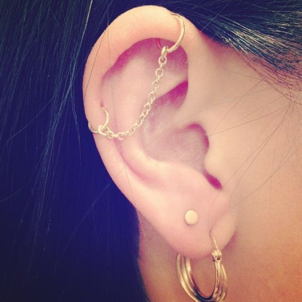 Chain Piercing - This is a cool idea considering that I have an industrial piercing