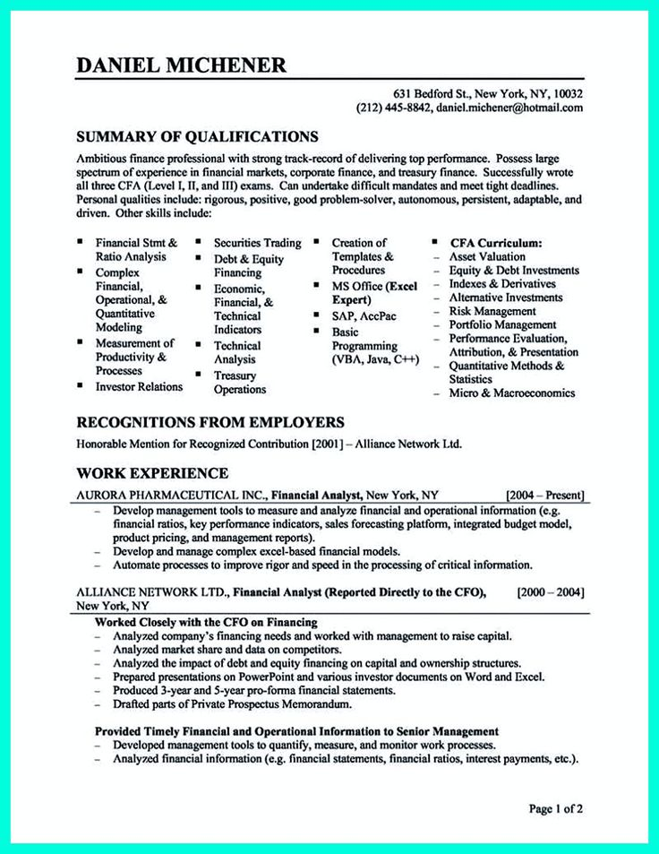 2695 best Resume Sample Template And Format images on Pinterest - finance resume objective examples