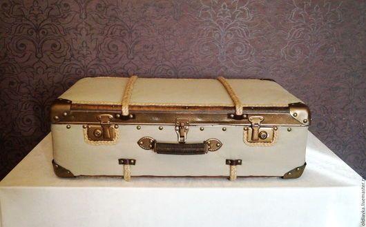 Чемоданы ручной работы. Livemaster - ручной работы. Купить постельное белье чемодан большой.Коричневый, кантри, декор интерьера, домашнего декора, канат джутовый