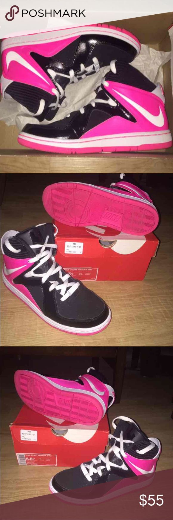 🏀 Nike Court Invader Grade School 6.5 Women's 8 NO TRADES.  - Nike Court Invader Basketball Shoes (Mids)  - Grade School / Youth / Boy's / Girl's size 6.5 - Women's Size 8 - black, white, & hyper (hot) pink.  - EUC Only worn a few times for weight training at the gym. Not Jordan's. Will ship in original box. Reasonable offers welcome- cheaper on Ⓜ️. Nike Shoes Athletic Shoes